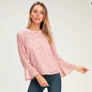 Perfect Petals Blush Pink Lace Three-Quarter Sleev